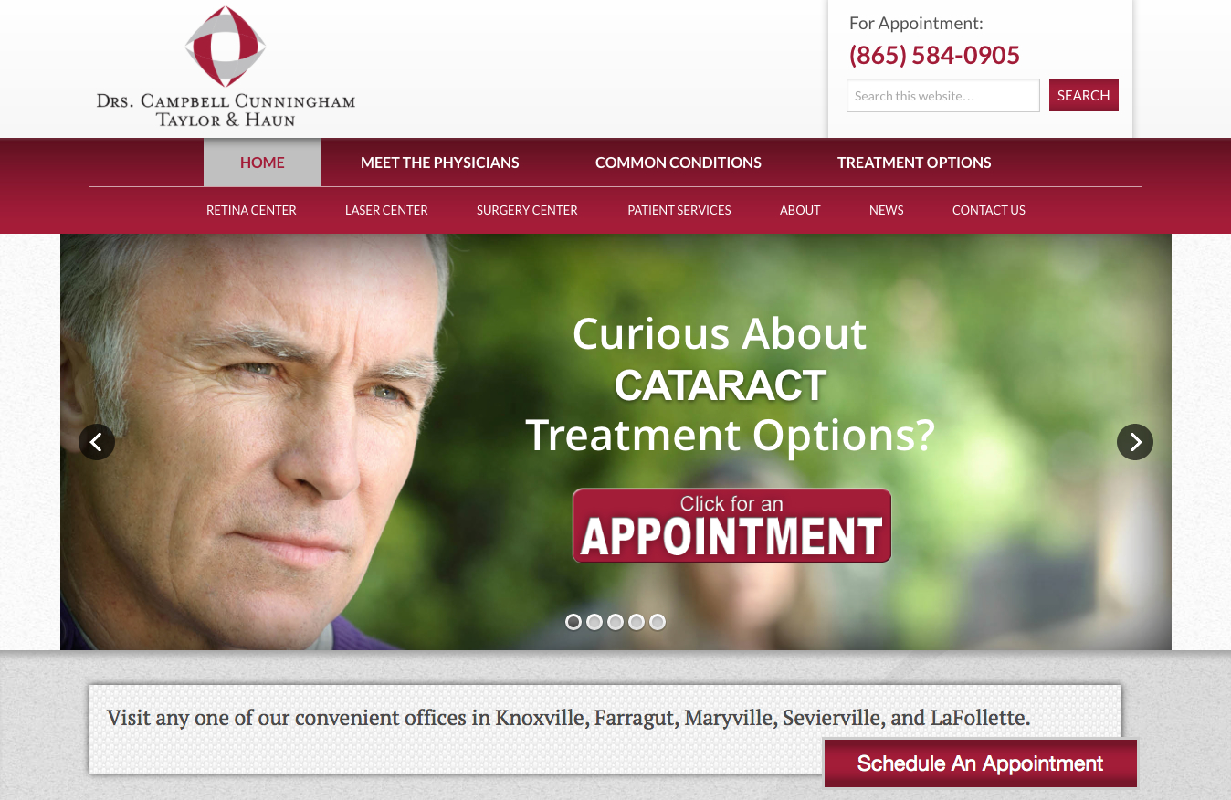 Home Page of the newly updated Drs. Campbell, Cunningham, Taylor & Haun website.